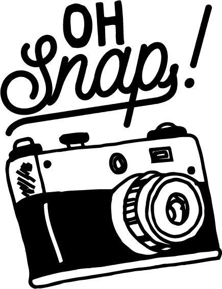 "Clipart image: Camera with words ""Oh Snap!"""