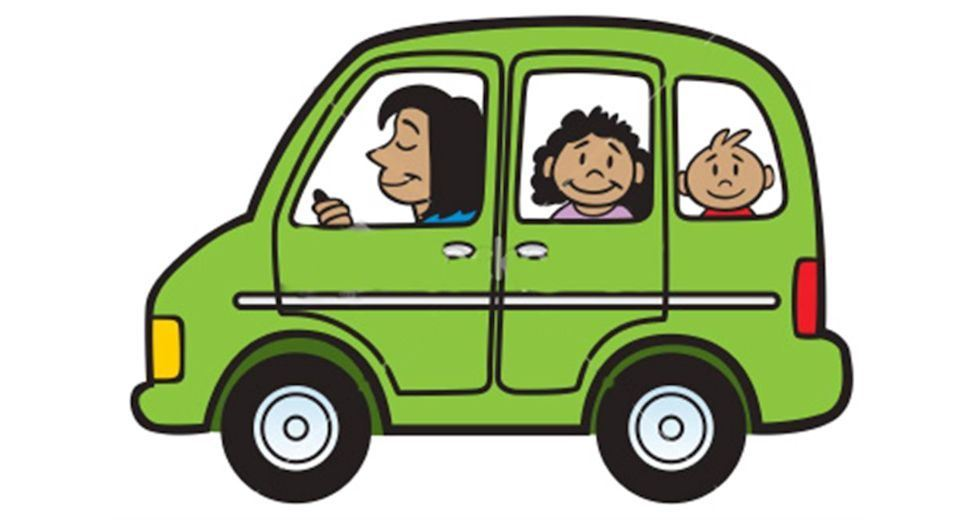 Clipart image of a mom and children in a car