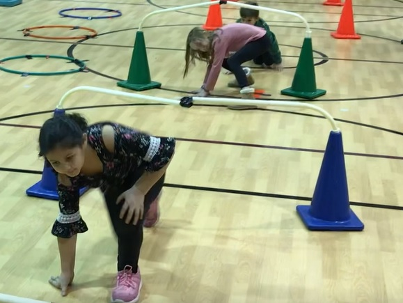 Image of students doing fitness obstacle course