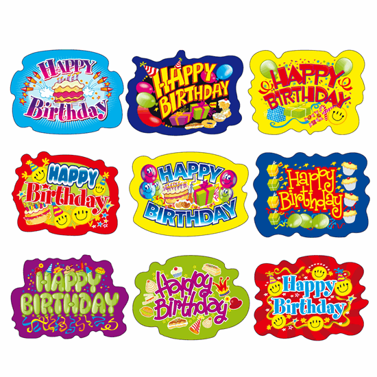Image of a page of happy birthday stickers