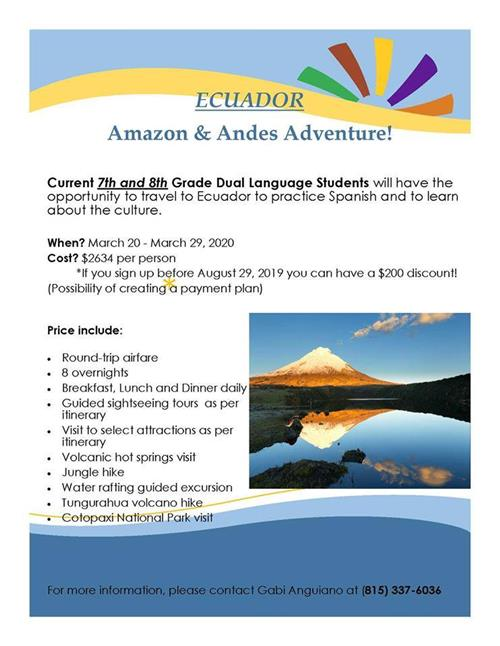 Image of a flyer advertising student trip to Ecuador