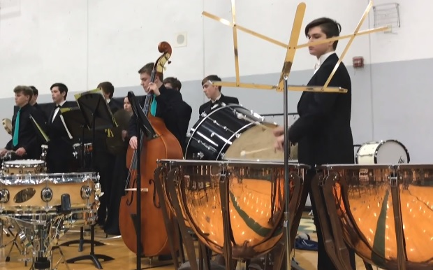 Photo of high school percussion section at D200 Band Festival