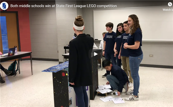 Photo of students competing at LEGO tournament