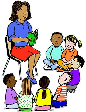 Animated drawing of a woman reading to a group of children