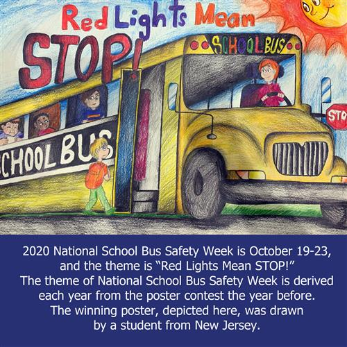 Student drawing of a school bus with safety message