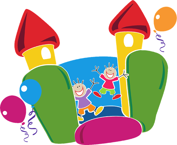 Clipart image of children playing in a bouncy house