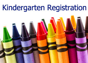 "Image of crayons with words ""Kindergarten Registration"""