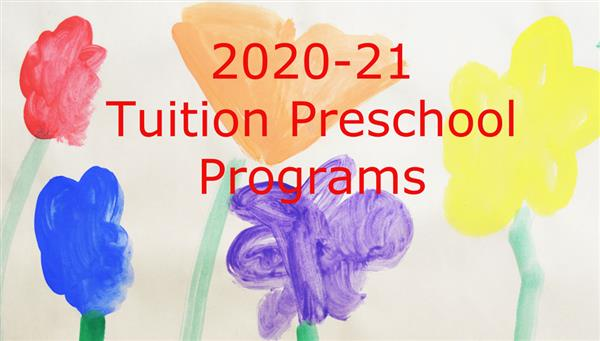 Child's painting announcing Tuition Preschool Programs