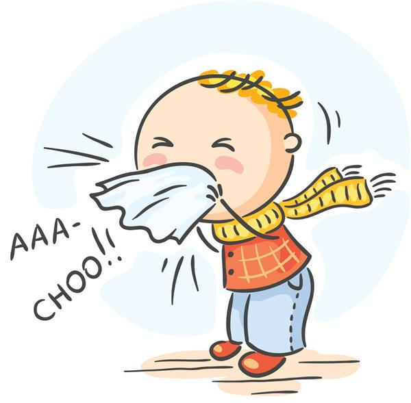 Clipart image of a child sneezing