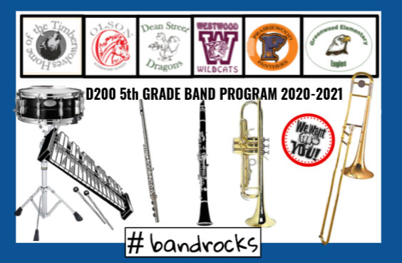 5th Grade band graphic with photos of different band instruments
