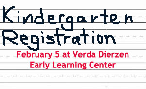 Image announcing Kindergarten registration on Feb. 5